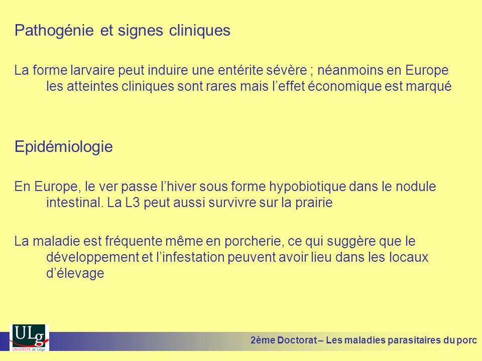 Pathogénie et signes cliniques La forme larvaire peut induire une entérite sévère ; néanmoins en Europe les atteintes cliniques sont rares mais leffet