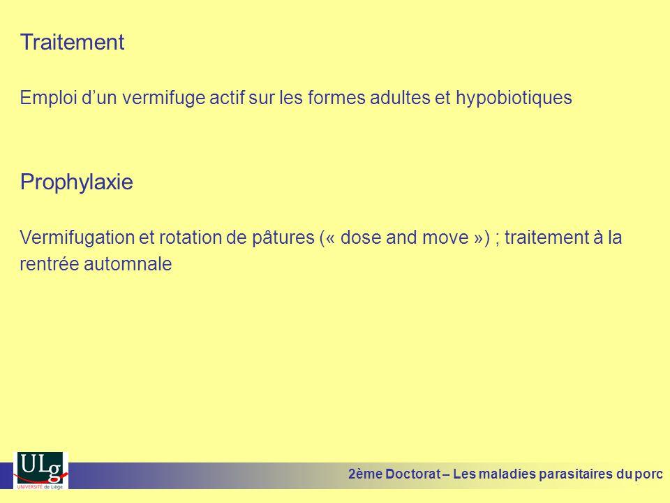Traitement Emploi dun vermifuge actif sur les formes adultes et hypobiotiques Prophylaxie Vermifugation et rotation de pâtures (« dose and move ») ; t