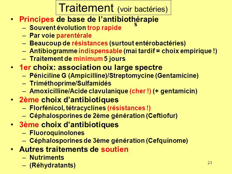 21 Traitement (voir bactéries) Principes de base de lantibiothérapie –Souvent évolution trop rapide –Par voie parentérale –Beaucoup de résistances (su
