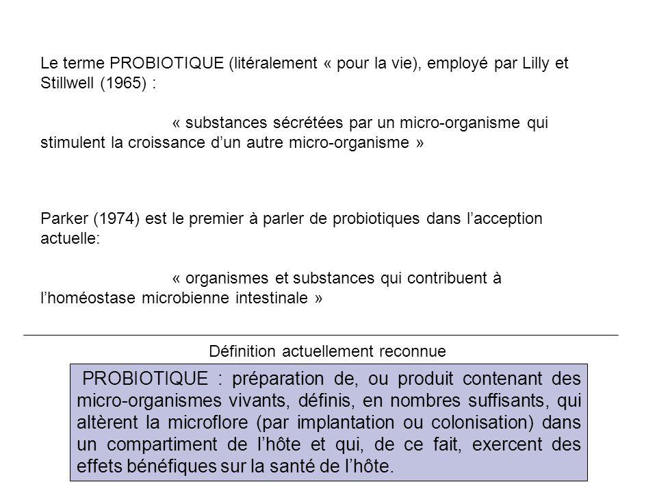 Le terme PROBIOTIQUE (litéralement « pour la vie), employé par Lilly et Stillwell (1965) : « substances sécrétées par un micro-organisme qui stimulent