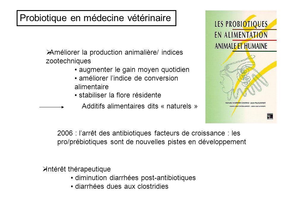 Probiotique en médecine vétérinaire Améliorer la production animalière/ indices zootechniques augmenter le gain moyen quotidien améliorer lindice de c