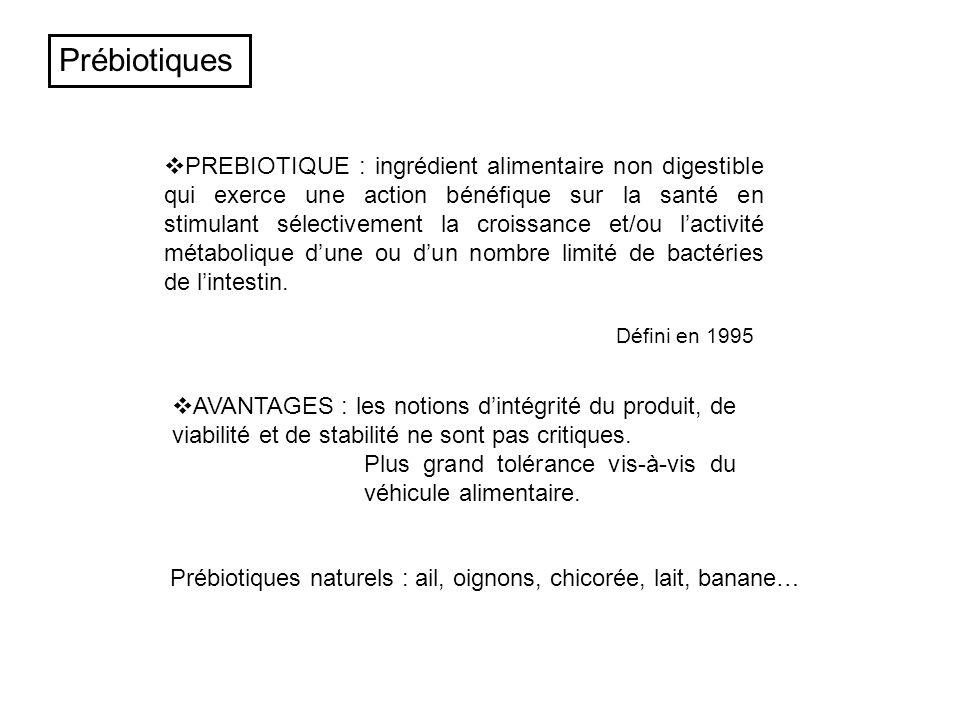 PREBIOTIQUE : ingrédient alimentaire non digestible qui exerce une action bénéfique sur la santé en stimulant sélectivement la croissance et/ou lactiv