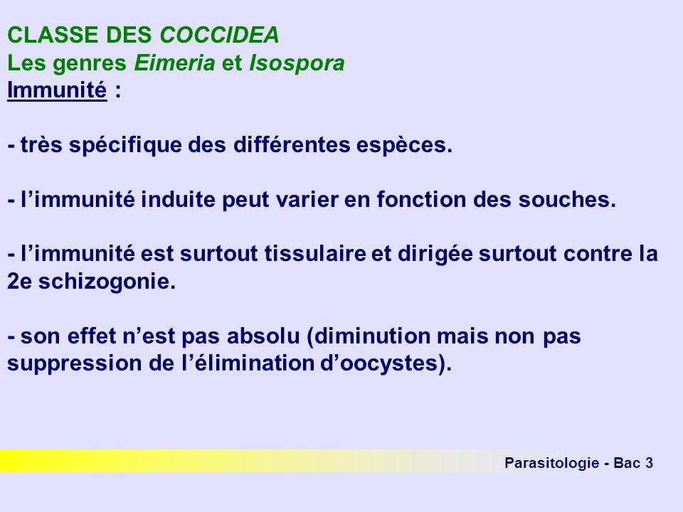 Parasitologie - Bac 3 CLASSE DES COCCIDEA Les genres Eimeria et Isospora Immunité : - très spécifique des différentes espèces. - limmunité induite peu