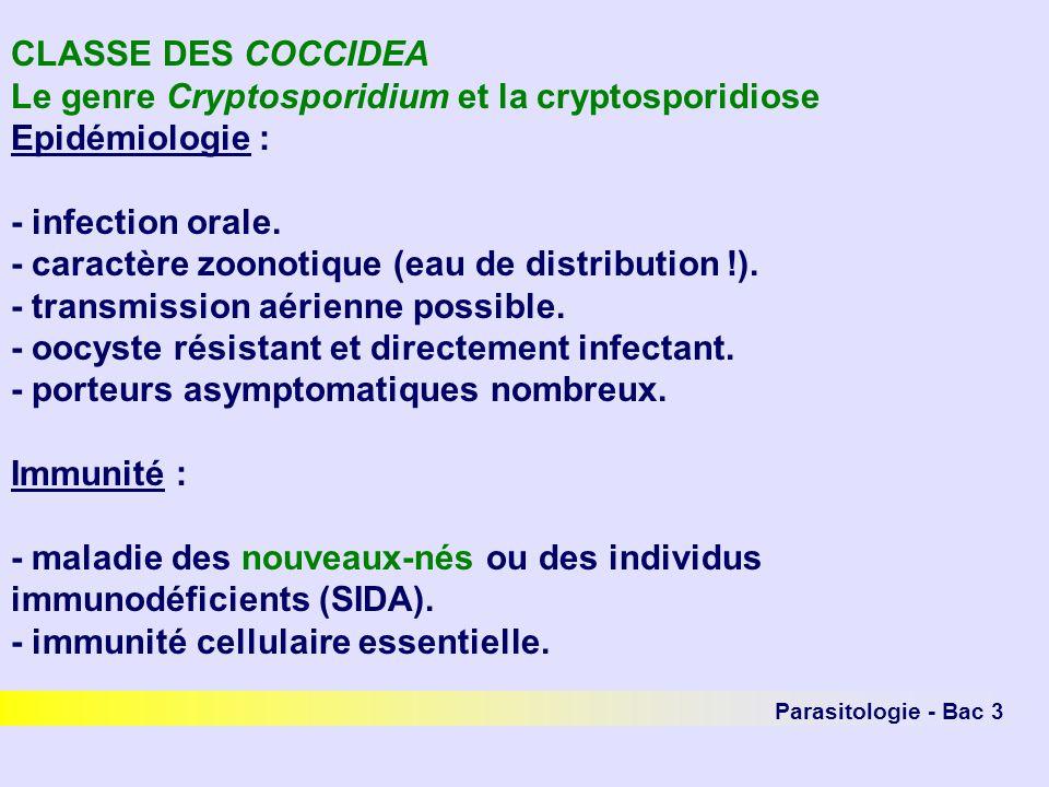 Parasitologie - Bac 3 CLASSE DES COCCIDEA Le genre Cryptosporidium et la cryptosporidiose Epidémiologie : - infection orale. - caractère zoonotique (e