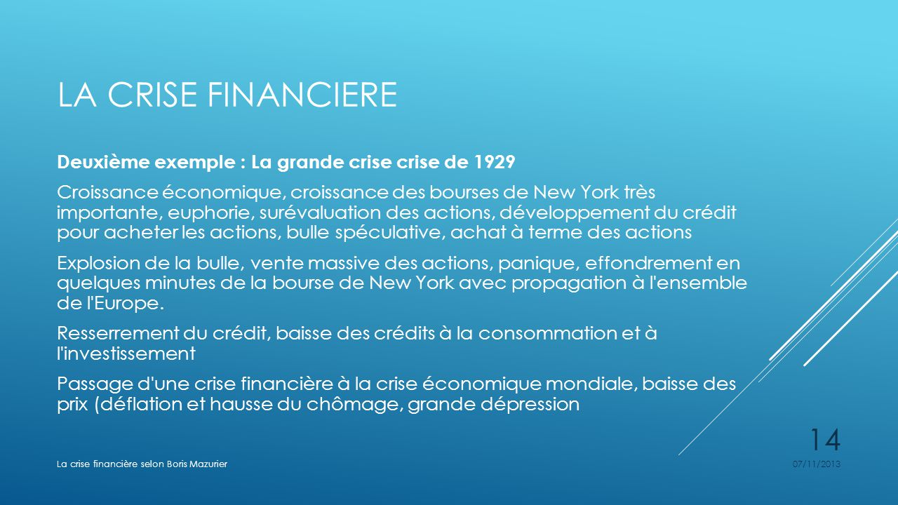 LA CRISE FINANCIERE Deuxième exemple : La grande crise crise de 1929 Croissance économique, croissance des bourses de New York très importante, euphor