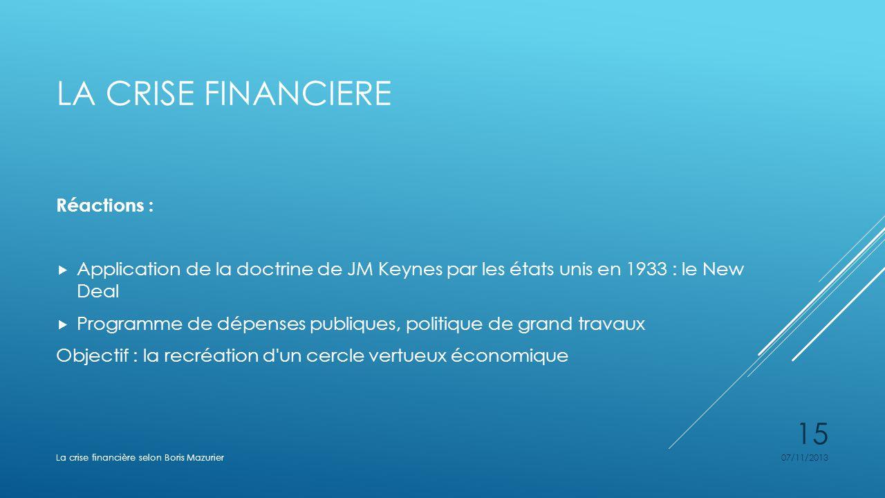 LA CRISE FINANCIERE Réactions : Application de la doctrine de JM Keynes par les états unis en 1933 : le New Deal Programme de dépenses publiques, poli