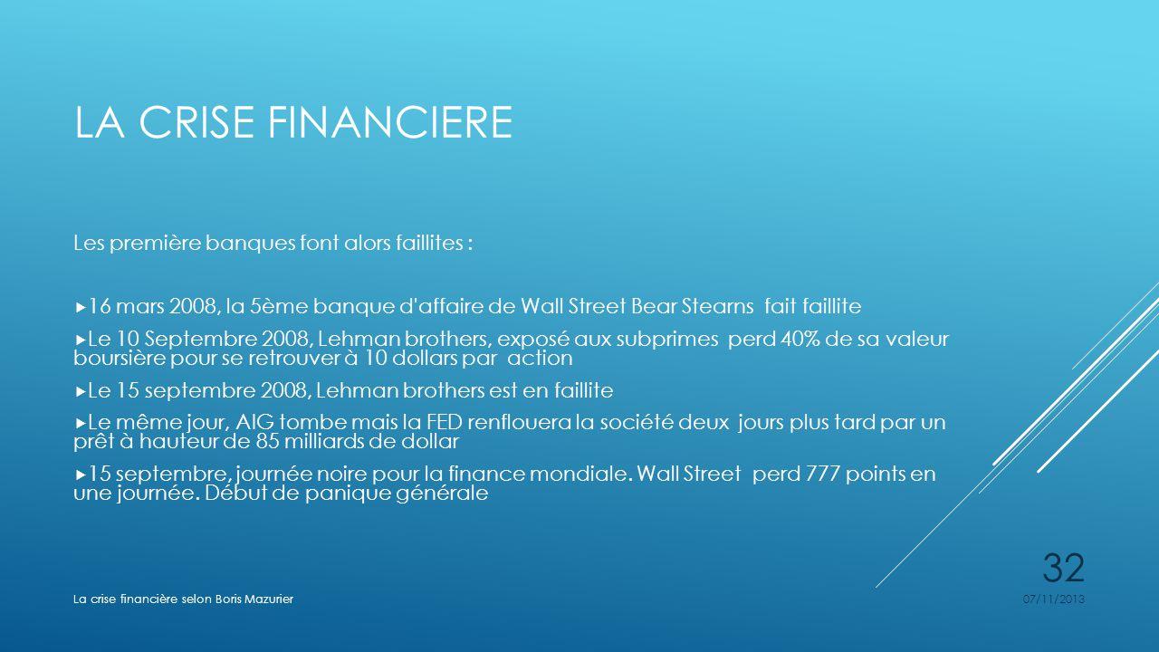 LA CRISE FINANCIERE Les première banques font alors faillites : 16 mars 2008, la 5ème banque d'affaire de Wall Street Bear Stearns fait faillite Le 10