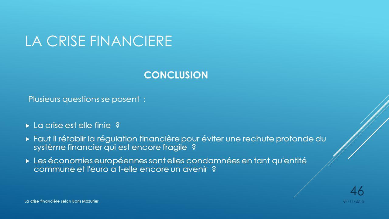 LA CRISE FINANCIERE CONCLUSION Plusieurs questions se posent : La crise est elle finie ? Faut il rétablir la régulation financière pour éviter une rec