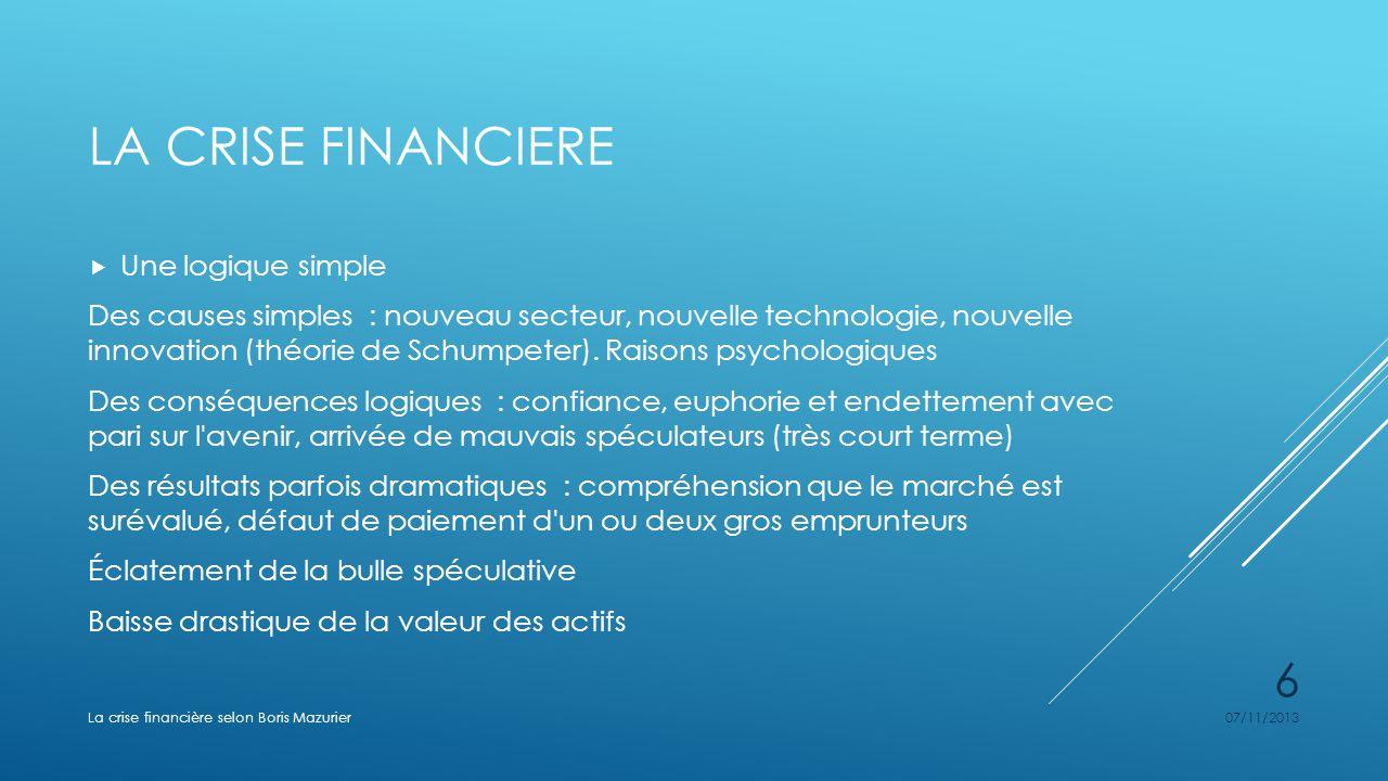 LA CRISE FINANCIERE Une logique simple Des causes simples : nouveau secteur, nouvelle technologie, nouvelle innovation (théorie de Schumpeter). Raison