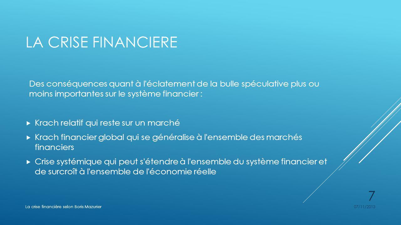 LA CRISE FINANCIERE Des conséquences quant à l'éclatement de la bulle spéculative plus ou moins importantes sur le système financier : Krach relatif q