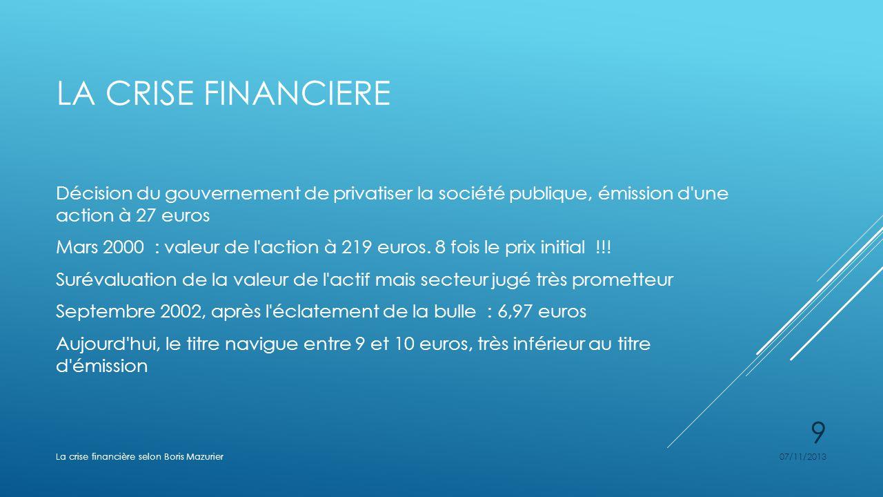 LA CRISE FINANCIERE Décision du gouvernement de privatiser la société publique, émission d'une action à 27 euros Mars 2000 : valeur de l'action à 219