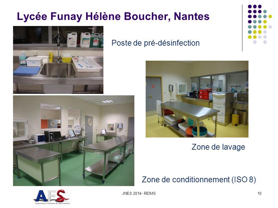 Lycée Funay Hélène Boucher, Nantes JNES 2014- REIMS10 Poste de pré-désinfection Zone de lavage Zone de conditionnement (ISO 8)