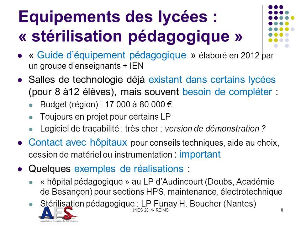 Lycée dAudincourt : hôpital pédagogique JNES 2014- REIMS9 Stérilisateur Système de traitement dair 2 chambres de médecine, un bloc opératoire, une stérilisation et annexes (vestiaire…) Lavage