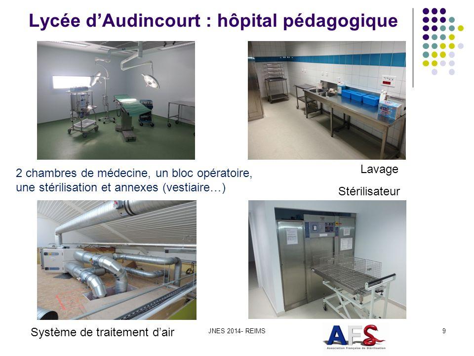 Lycée dAudincourt : hôpital pédagogique JNES 2014- REIMS9 Stérilisateur Système de traitement dair 2 chambres de médecine, un bloc opératoire, une sté
