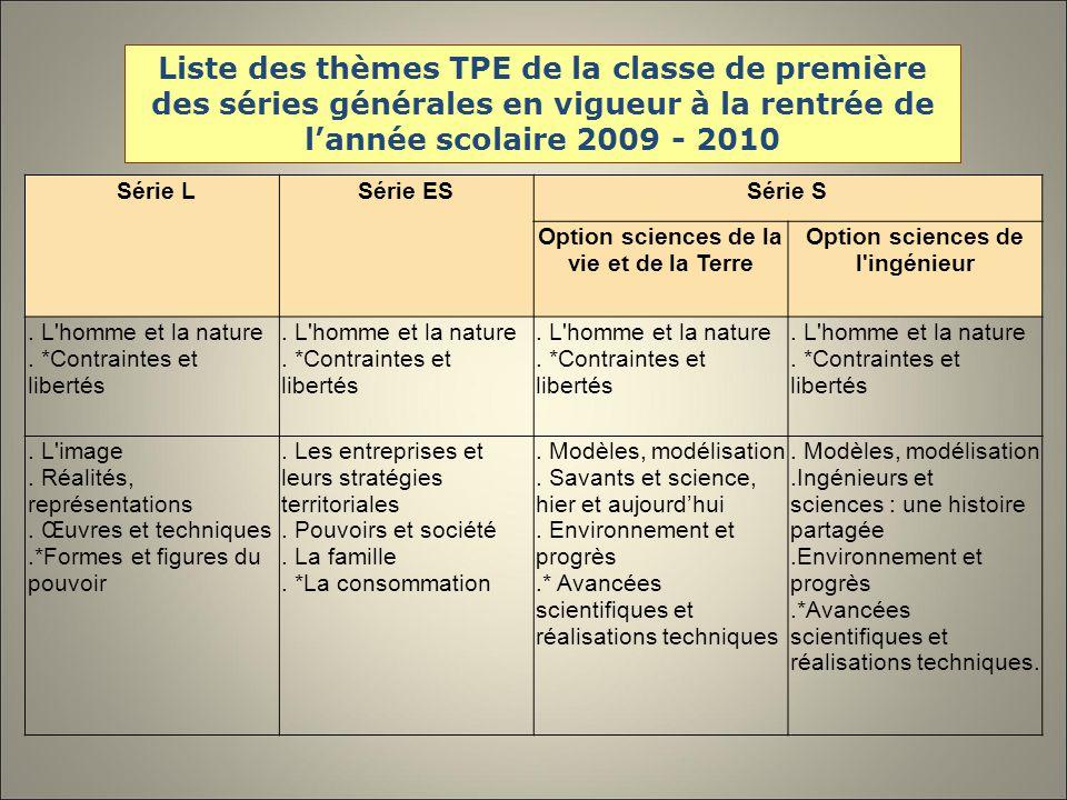 Liste des thèmes TPE de la classe de première des séries générales en vigueur à la rentrée de lannée scolaire 2009 - 2010 Série LSérie ESSérie S Option sciences de la vie et de la Terre Option sciences de l ingénieur.