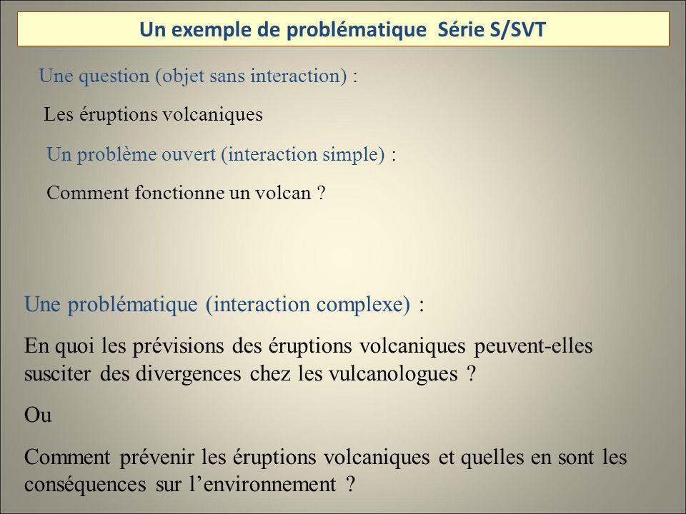 Une question (objet sans interaction) : Les éruptions volcaniques Un problème ouvert (interaction simple) : Comment fonctionne un volcan .