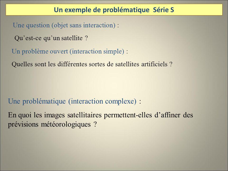 Une question (objet sans interaction) : Quest-ce quun satellite ? Un problème ouvert (interaction simple) : Quelles sont les différentes sortes de sat