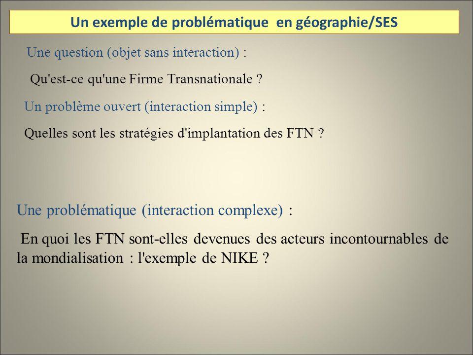 Une question (objet sans interaction) : Qu est-ce qu une Firme Transnationale .