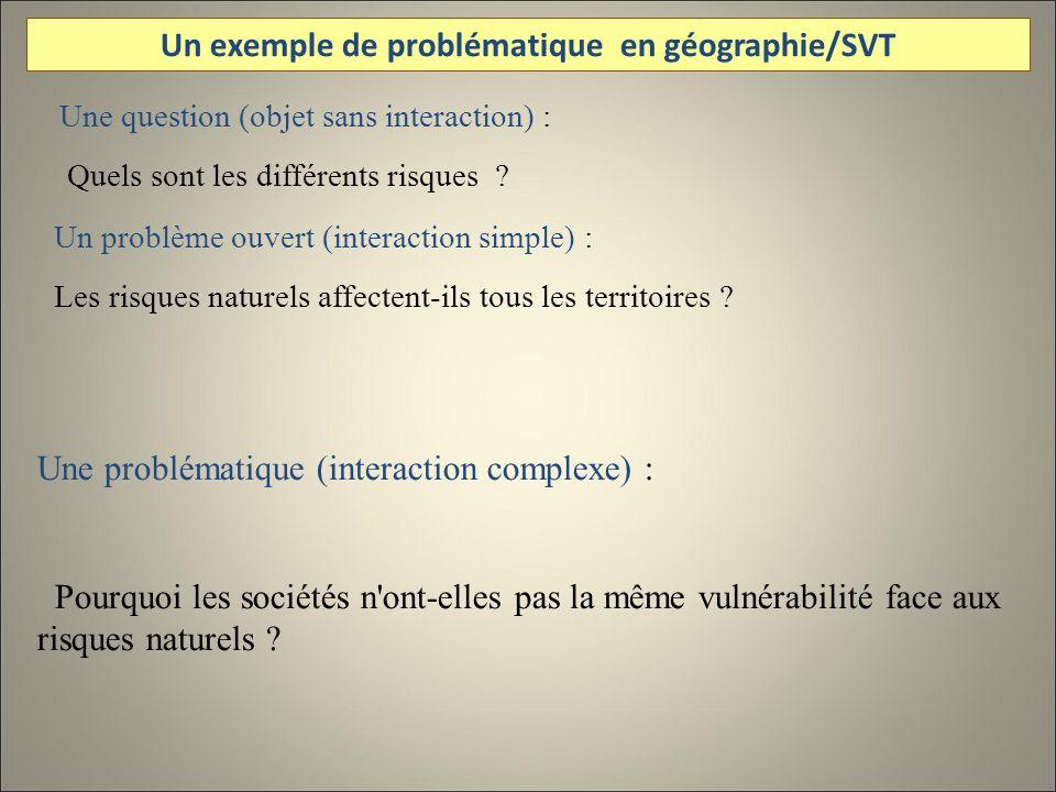 Une question (objet sans interaction) : Quels sont les différents risques .