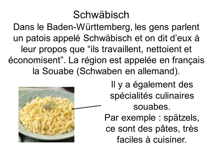 Schwäbisch Dans le Baden-Württemberg, les gens parlent un patois appelé Schwäbisch et on dit deux à leur propos que ils travaillent, nettoient et économisent.