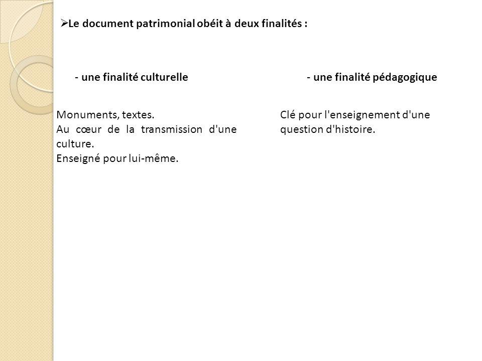 Le document patrimonial obéit à deux finalités : - une finalité culturelle- une finalité pédagogique Monuments, textes.
