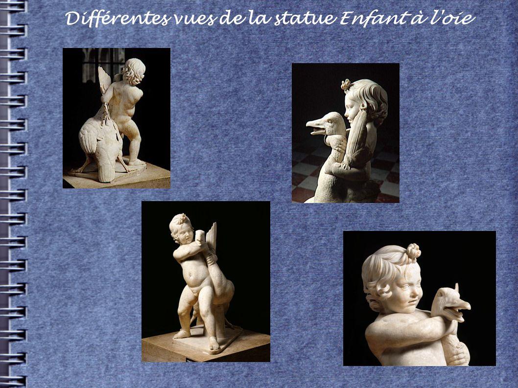 Différentes vues de la statue Enfant à l'oie