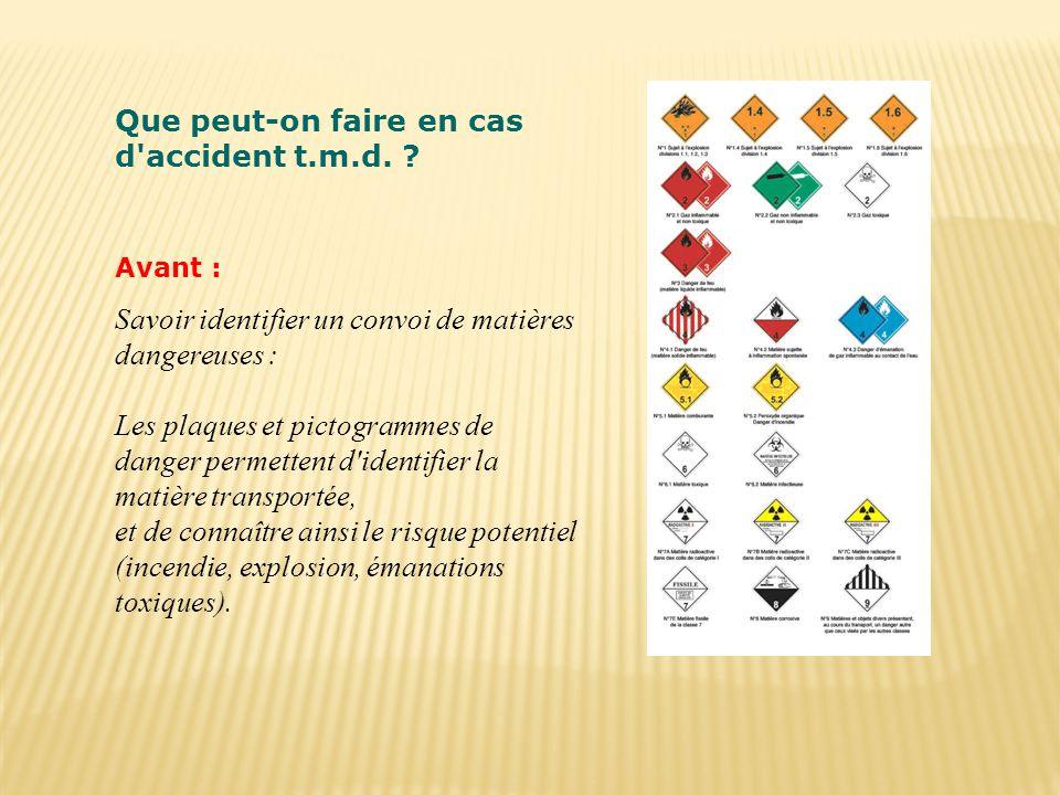 Que peut-on faire en cas d'accident t.m.d. ? Avant : Savoir identifier un convoi de matières dangereuses : Les plaques et pictogrammes de danger perme