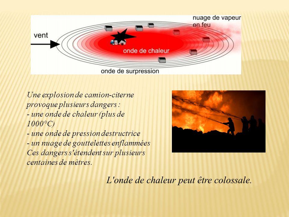Une explosion de camion-citerne provoque plusieurs dangers : - une onde de chaleur (plus de 1000°C) - une onde de pression destructrice - un nuage de