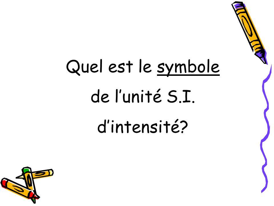 Quel est le symbole de lunité S.I. dintensité?