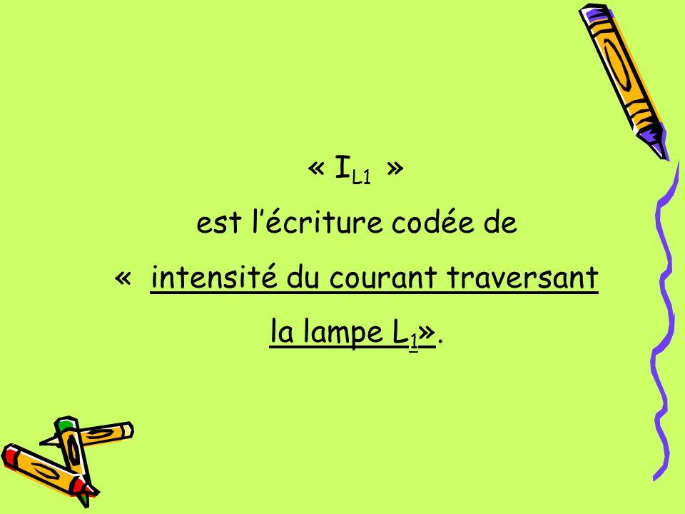 « I L1 » est lécriture codée de « intensité du courant traversant la lampe L 1 ».