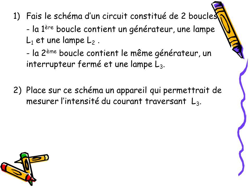 1)Fais le schéma dun circuit constitué de 2 boucles. - la 1 ère boucle contient un générateur, une lampe L 1 et une lampe L 2. - la 2 ème boucle conti