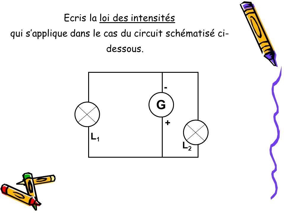 Ecris la loi des intensités qui sapplique dans le cas du circuit schématisé ci- dessous. L3L3 - + G L2L2 L1L1