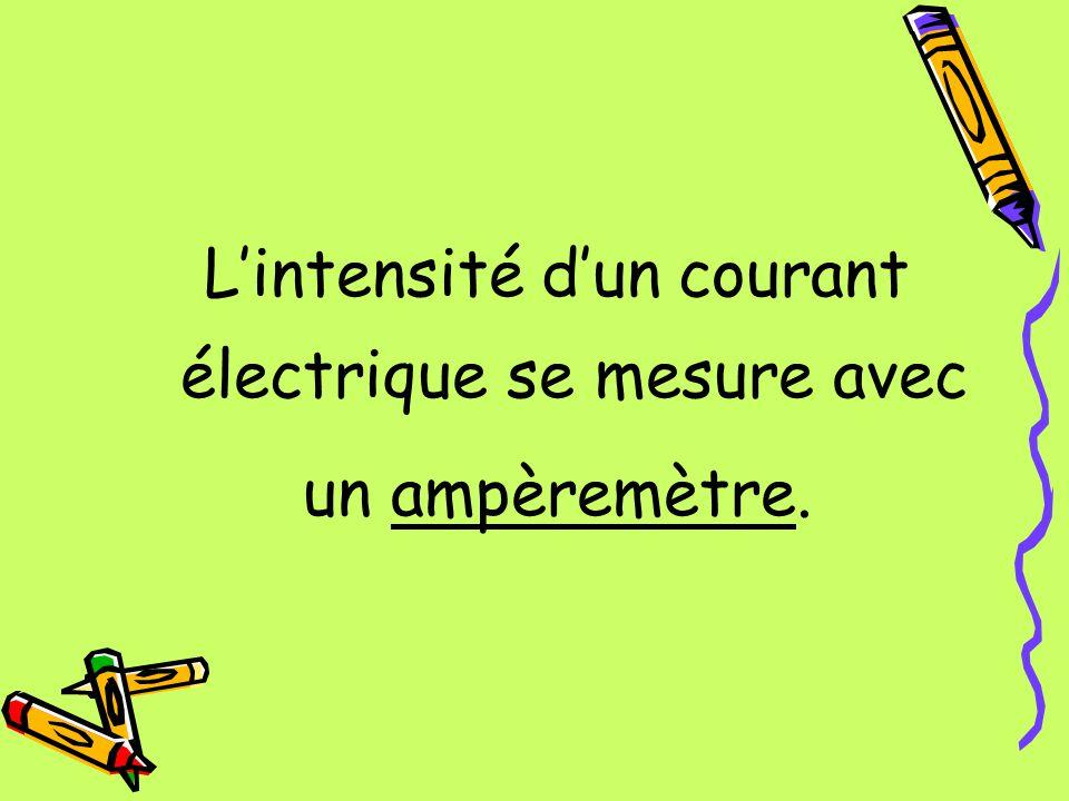 Lintensité dun courant électrique se mesure avec un ampèremètre.