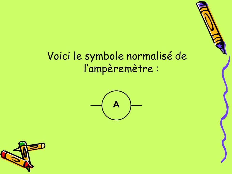 Voici le symbole normalisé de lampèremètre : A