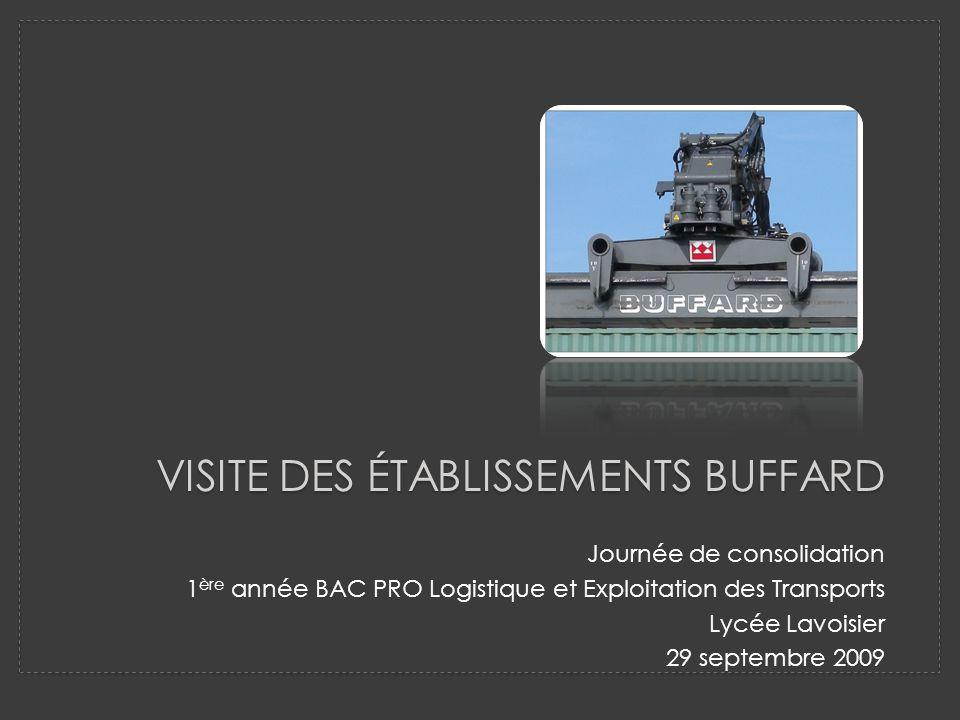 VISITE DES ÉTABLISSEMENTS BUFFARD Journée de consolidation 1 ère année BAC PRO Logistique et Exploitation des Transports Lycée Lavoisier 29 septembre 2009