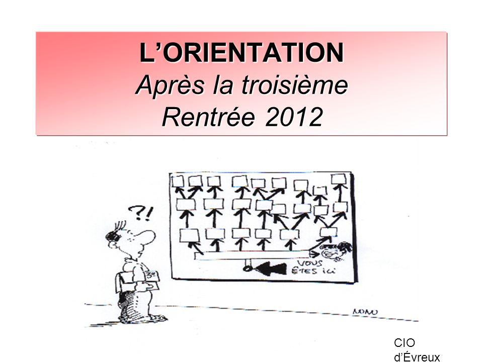 LORIENTATION Après la troisième Rentrée 2012 CIO dÉvreux
