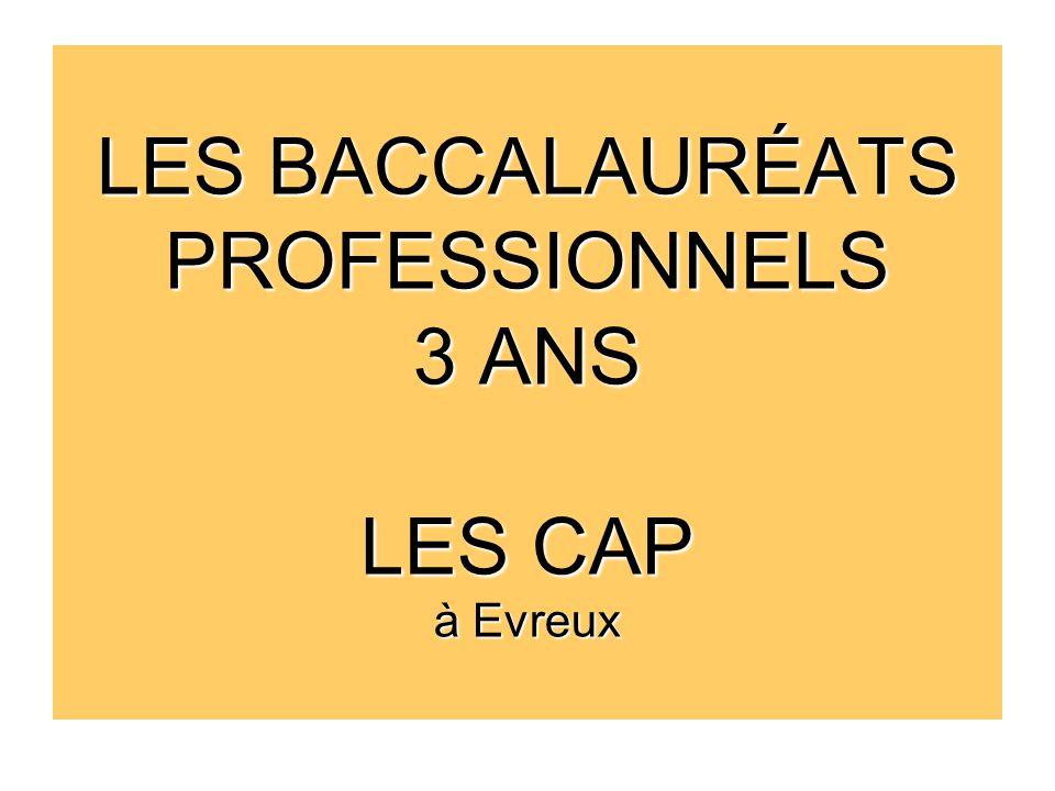 LES BACCALAURÉATS PROFESSIONNELS 3 ANS LES CAP à Evreux
