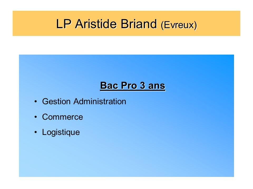 LP Aristide Briand (Evreux) Bac Pro 3 ans Gestion Administration Commerce Logistique