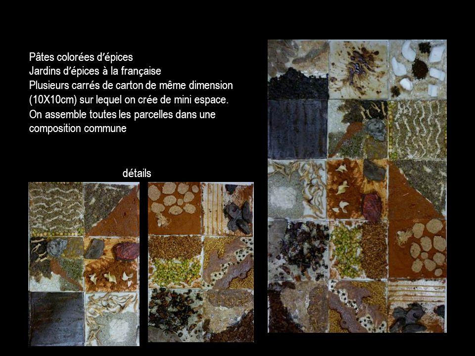 d é tails Pâtes color é es d é pices Jardins d é pices à la fran ç aise Plusieurs carr é s de carton de même dimension (10X10cm) sur lequel on cr é e de mini espace.