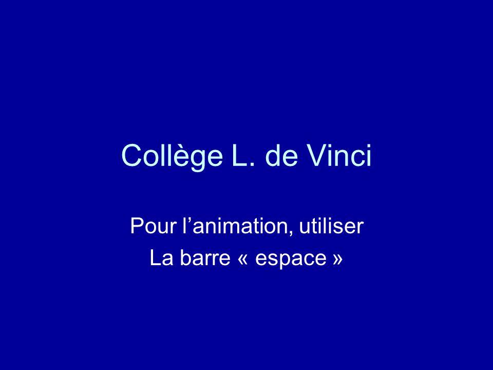 Collège L. de Vinci Pour lanimation, utiliser La barre « espace »