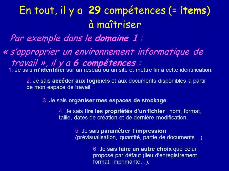 En tout, il y a 29 compétences (= items) à maîtriser Par exemple dans le domaine 1 : « sapproprier un environnement informatique de travail », il y a 6 compétences : 1.