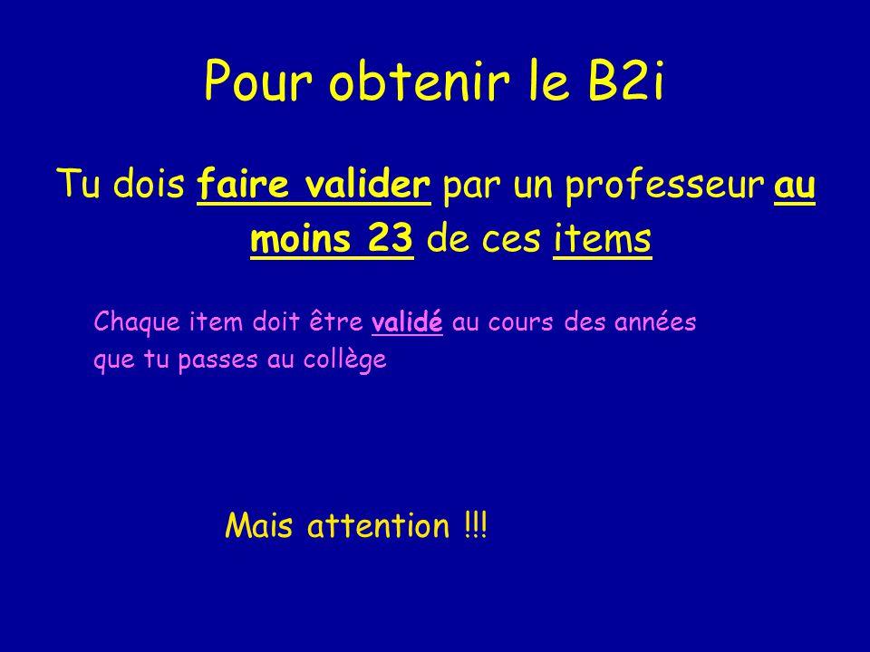 Pour obtenir le B2i Tu dois faire valider par un professeur au moins 23 de ces items Chaque item doit être validé au cours des années que tu passes au collège Mais attention !!!