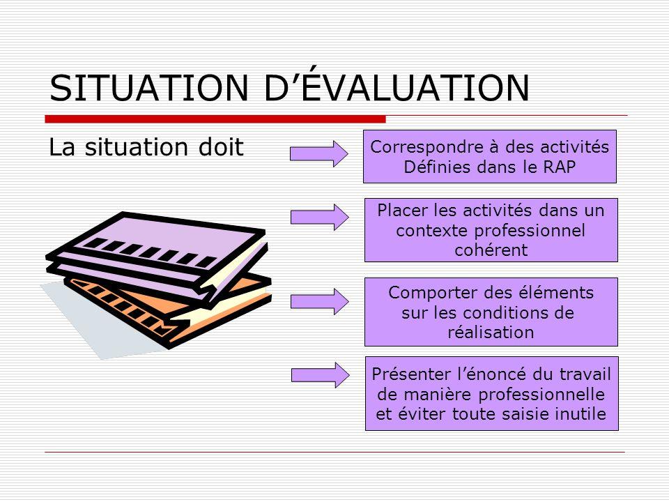 SITUATION DÉVALUATION La situation doit Correspondre à des activités Définies dans le RAP Placer les activités dans un contexte professionnel cohérent