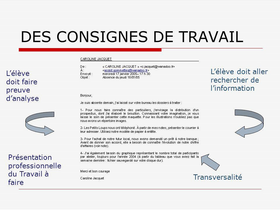 DES CONSIGNES DE TRAVAIL Lélève doit faire preuve danalyse Lélève doit aller rechercher de linformation Présentation professionnelle du Travail à fair