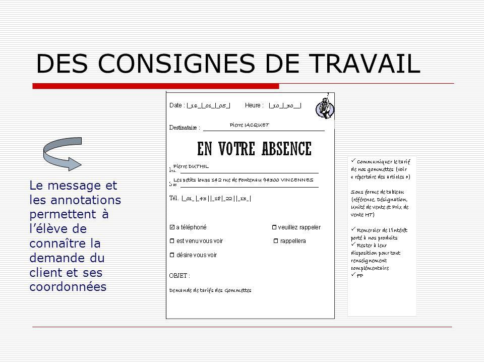 DES CONSIGNES DE TRAVAIL Le message et les annotations permettent à lélève de connaître la demande du client et ses coordonnées
