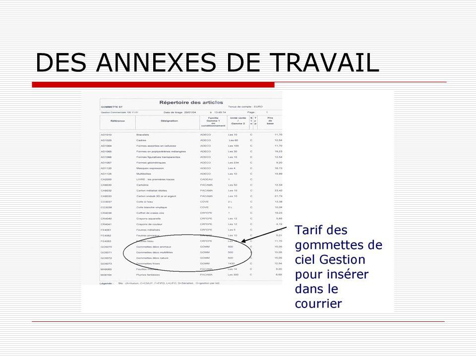 DES ANNEXES DE TRAVAIL