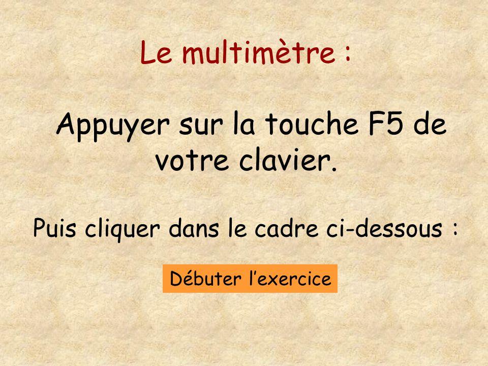 Le multimètre : Appuyer sur la touche F5 de votre clavier.