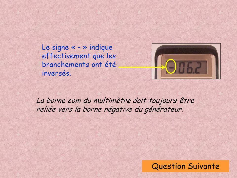 Question Suivante Le signe « - » indique effectivement que les branchements ont été inversés.