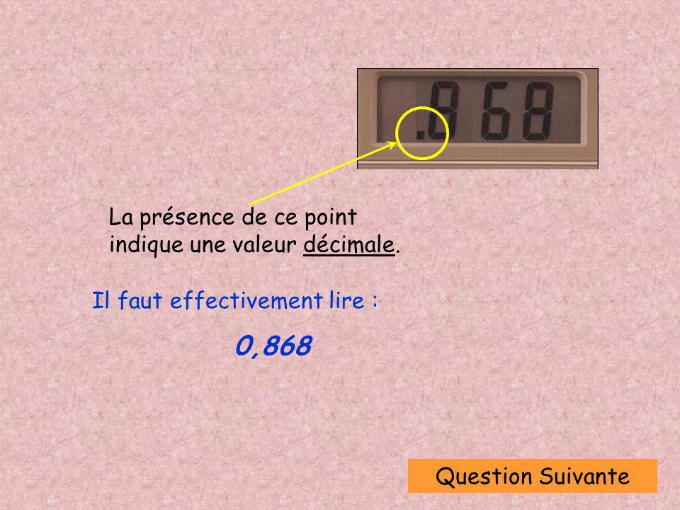 Question Suivante La présence de ce point indique une valeur décimale.