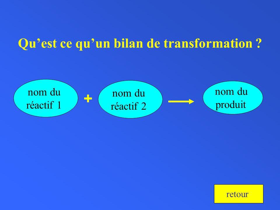 Quest ce quun bilan de transformation ? nom du réactif 1 + nom du produit nom du réactif 2 retour